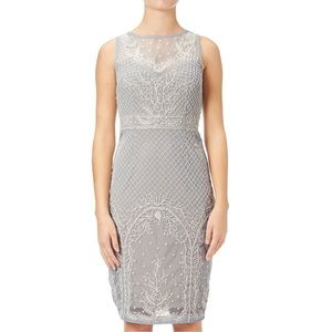 Adrianna Papell cocktail dress Blue Heather/Nude